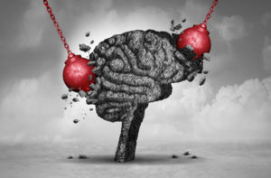 illustration of brain getting migraines attacks