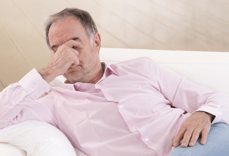 man exhausted with Chronic Fatigue syndrome