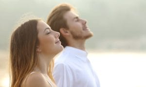 couple breathing deeply