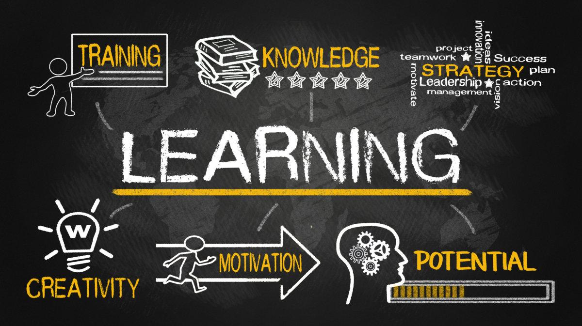 blackboard with learning written on it